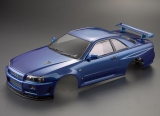 Killerbody Nissan Skyline R34 Karosserie Metallic Blau 195mm RTU #KB48716 fertig Lackiert